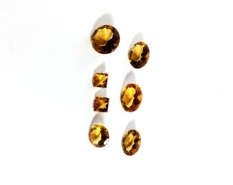 Citrin faceted gemstone 4 to 8mm