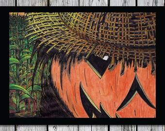 Cornfield Scarecrow/ Halloween Notecards/ Blank Inside