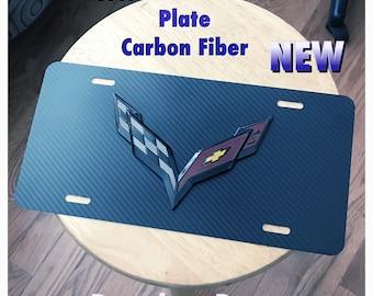 Chevrolet Corvette 3D Custom Limited Edition License Plate Aluminum Black Carbon Fiber Weatherproof New 1PC Standard Universal Z06 Stingray