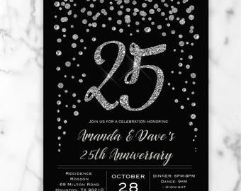 Black & Silver Wedding Anniversary Invitation - Silver Glitter Confetti - 25th Wedding Anniversary Invitation - Digital or Printed #GP6SBGC6