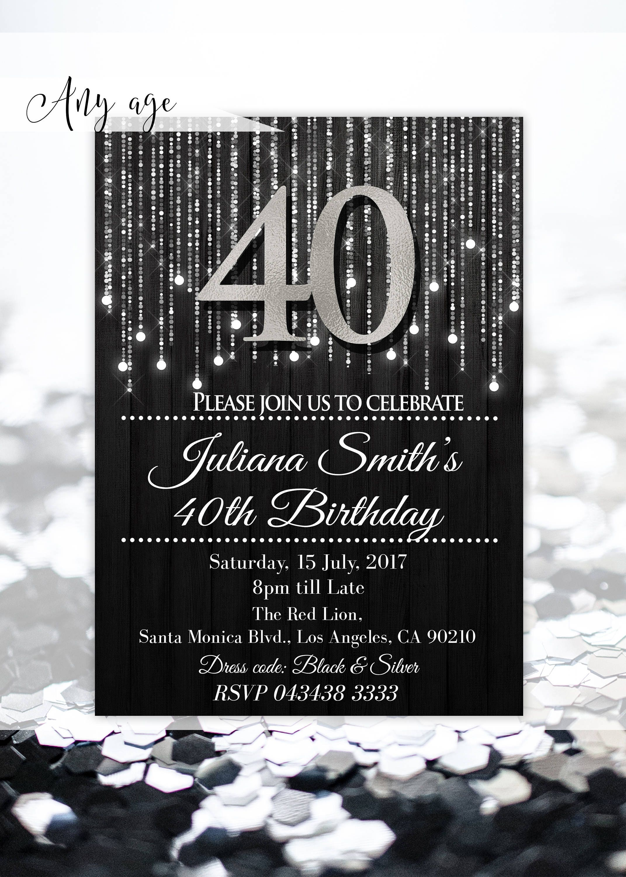 Silver invitations 40th birthday invitations for womens Elegant