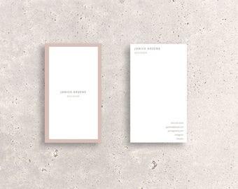 Minimal Blush Pink Border Double-Sided Business Card Template - Vertical custom digital creative design file