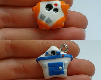 Polymer clay R2-D2 and bb-8 stars