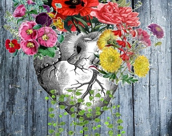 Heart and Flowers- Human Anatomical Heart Poster-Heart and Flowers Print- Unique gift Science Gift- Boyfriend Gift