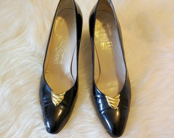 "Vintage Salvatore Ferragamo Black Patent Leather 2.5"" Pumps with Brass Decoration Size 8 1/2"