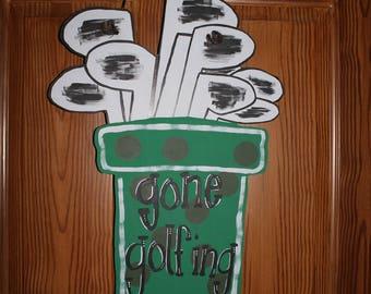 Golf Bag Door Hanger, Sumer Door Art, Golfing Door Art, Golf, Polka Dots,
