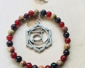 Sacral Chakra Healing Crystal Bracelet w/detachable charm