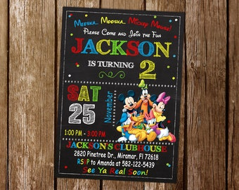 Mickey Mouse Clubhouse Invitation, Mickey Mouse Clubhouse Birthday, Mickey And Friends Invitation