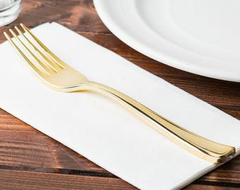 "7.25"" Gold Metallic Heavyweight Plastic Fork - 25 Plastic Gold Forks, Wedding, Showers, Parties. Silverware , Gold Plastic Cutlery."