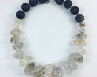 Rock Crystal and Lava Stone necklace