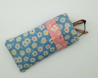 Blue Floral Eyeglass Case with Pink Floral Stripe
