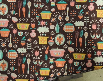 Fabric cotton patchwork Riley Blake designs Brown background colorful kitchen utensils