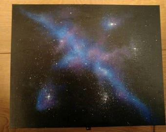 Hand painted wooden galaxy/nebula storage box
