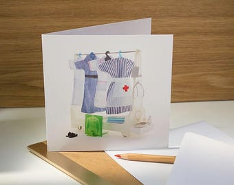 Get well soon card with nurse uniform and hospital x-ray. Vintage dolls clothes, unique!