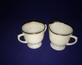 On Sale - White Fire King Sugar Bowl and Creamer - Swirl Milk Glass with Gold Trim - 1960 Fire King - Milk Glass - Vintage Fire King