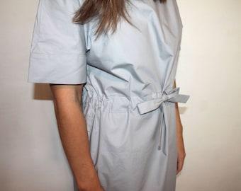 Retro cotton dress with belt