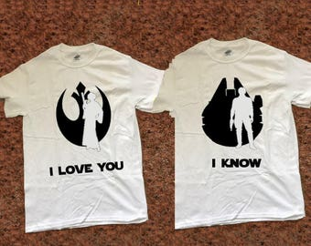 I love You I Know Han and Leia Star Wars Quote Matching Couples T Shirt Set