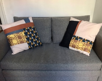 Graphic up cycled patchwork cushion