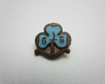 Vintage Girl Guides Mini Promise Trefoil Pin Badge Rangers Aqua Enamel Brass Metal 1960s Scout and Guide Association