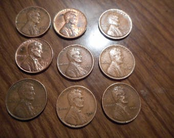 Wheat Penny lot of 9 you get  1920,30,46,44,41,45,50,53.,58 SOME RARE PENNY'S Look