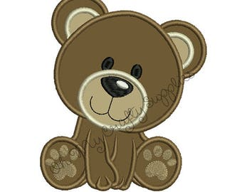 Bear Applique Embroidery Design
