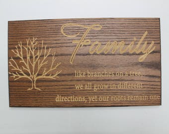 Custom Carved Wooden Family Tree Sign