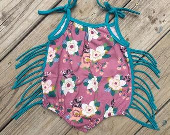 Baby Girl Romper- Boho Baby- Flowers and fringe