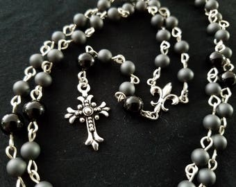 Rock and Roll! Sterling Silver Black Onyx and Hematite Rosary