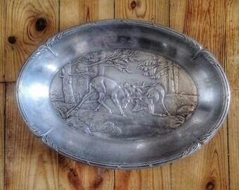 Basket, basket bread old aluminum relief decoration: deer, forest, hunting. Art deco