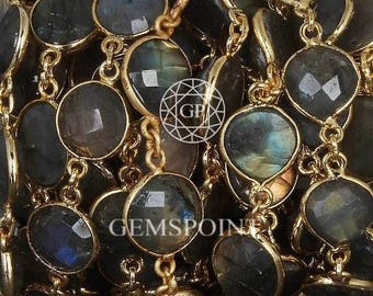 Labradorite Round Connector Chains, Gold Plated Connector Chains, Labradorite Round Bezel Connector Chains, 11 mm, Sold By Foot (LAB-0258)