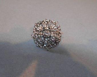 Vintage Crystal Rhinestone Brooch/Pin/Tack- Unsigned - Mid 20th Century