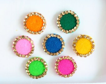 7 Multicolor Round Bindis ,Wedding Round Bindis,Velvet Colorful Bindis,Colorful Face Jewels Bindis,Bollywood Bindis,Self Adhesive Stickers