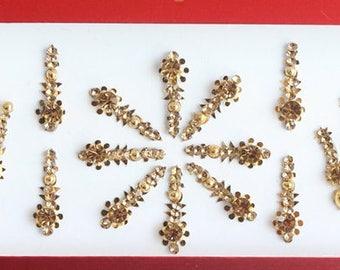 32 Gold Long Bridal Bollywood Bindis Pack,Wedding Bindis Face Jewels,Stone Bindis,Indian Gold Bindis,Long Bindis,Self Adhesive Stickers