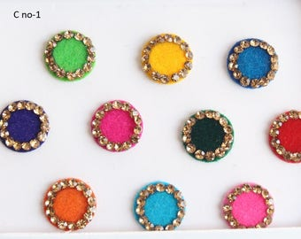 Bollywood Wedding Round Bindis Stones Design,Velvet Multicolor Bindis,Colorful Face Bindis,Bollywood Bindis,Self Adhesive Stickers