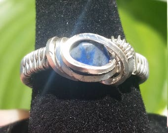 Wire Wrapped Silver Ring - Size 6 - Blue Gemstone