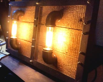 vintage industrial design sconce double lamp reclaimed wood