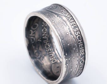 Coin ring 10 euro sky disc of NEBRA (Germany) 925-Silver