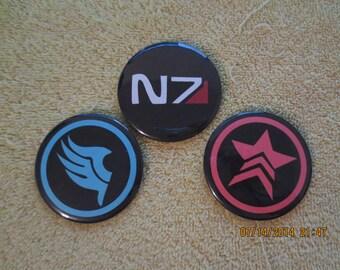 Mass Effect Pin Back Buttons