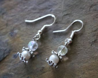 White, silver and crystal drop earrings