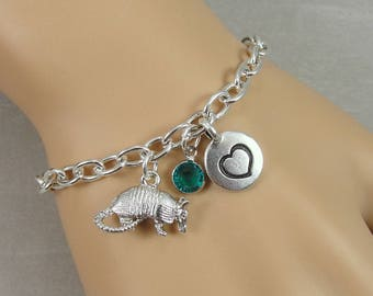Armadillo Charm Bracelet, Texas Armadillo Bracelet, Personalized Initial and Birthstone Bracelet, Silver Plated Link Charm Bracelet
