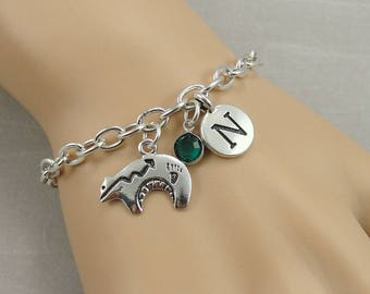 Heartline Bear Charm Bracelet, Zuni Bear Bracelet, Initial and Birthstone Bracelet, Silver Plated Link Charm Bracelet