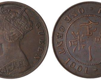 1901 Victoria one cent Hong Kong bronze coin