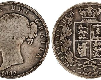 1887 Victoria halfcrown silver coin of Great Britain