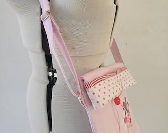 Unique handmade bag, Sling Bag, Cross body bag, Girl sling bag, Applique pattern, Floral sling bag, Floral applique, Pink sling bag