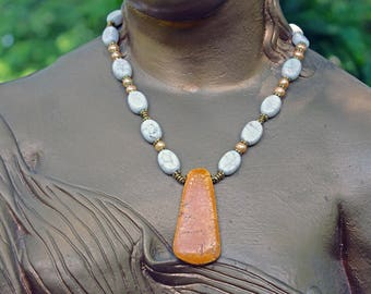 Egyptian Sunset Turquoise and Peruvian White Turquoise Necklace