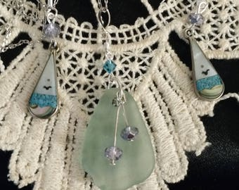Ocean Love! Sea Glass, Sterling silver and Swarovski Crystal Necklace and Vintage Ocean View Mother of Pearl/ SS, Onyx/Turquoise Earrings