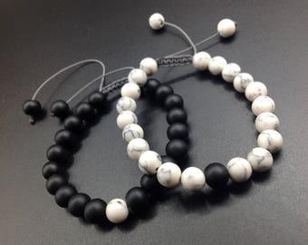 Single Couples Bracelet - Distance Bracelet - Black&White - For Friendships Bracelet - For Distance - Relationships - Gift