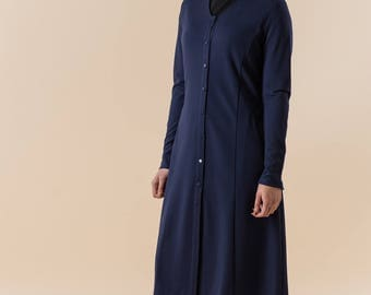 Navy Blue Jersey Cotton Coat Jacket