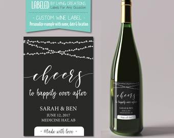 wedding wine label - cheers - custom wine label - personalized wedding gift - wedding thank you gift favor - waterproof label - wine sticker
