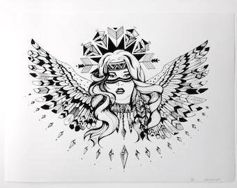 Angel Owl Mischief original Silk screen print